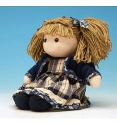 Boneca com casaco azul e cabelo de lã